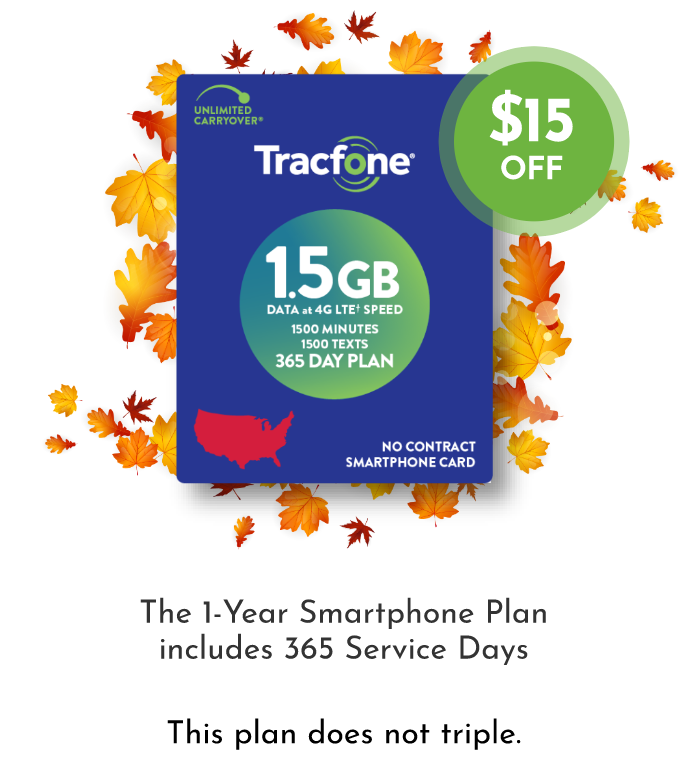 The 1-Year Smartphone Plan includes 365 Service Days